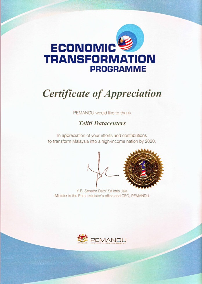 Certificate of Appreciation - Economic Transformation Programme organized by PEMANDU